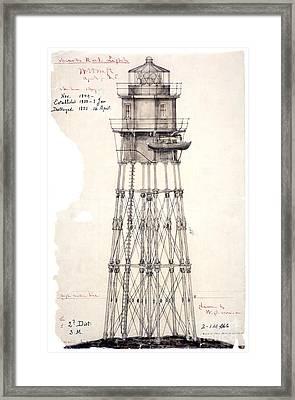 1849 Minot's Ledge Lighthouse  Framed Print by Jon Neidert