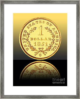 1851 1 Dollar Rare Charlotte Gold Framed Print by Jim Carrell