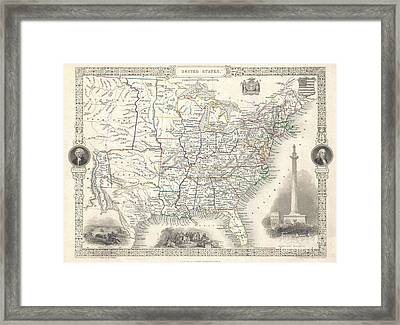 1851 Tallis And Rapkin Map Of The United States Framed Print by Paul Fearn