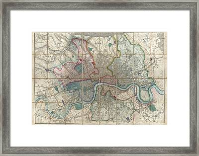 1852 Davies Case Map Or Pocket Map Of London Framed Print by Paul Fearn