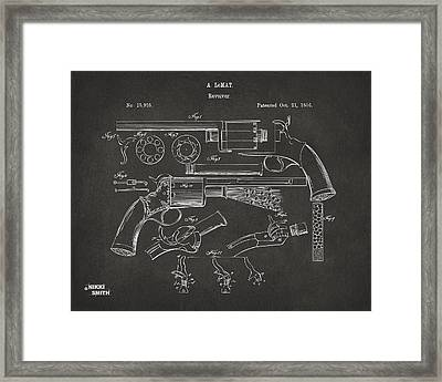 1856 Lemat Revolver Patent Artwork - Gray Framed Print by Nikki Marie Smith