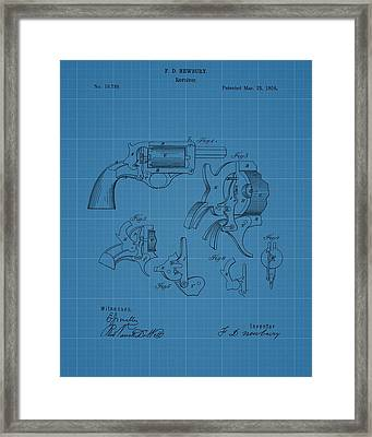 1858 Revolver Blueprint Patent Framed Print by Dan Sproul