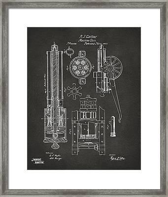 1862 Gatling Gun Patent Artwork - Gray Framed Print by Nikki Marie Smith