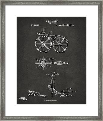 1866 Velocipede Bicycle Patent Artwork - Gray Framed Print by Nikki Marie Smith
