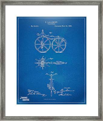 1866 Velocipede Bicycle Patent Blueprint Framed Print by Nikki Marie Smith