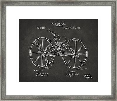 1869 Velocipede Bicycle Patent Artwork - Gray Framed Print by Nikki Marie Smith