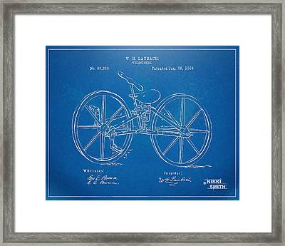 1869 Velocipede Bicycle Patent Blueprint Framed Print by Nikki Marie Smith