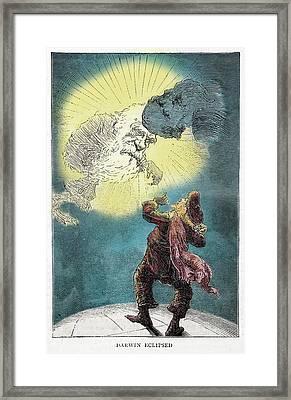 1871 Charles Darwin Monkey Versus Kelvin Framed Print by Paul D Stewart