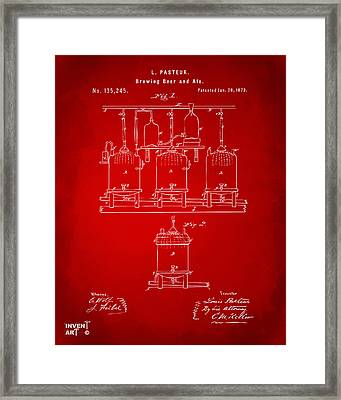 1873 Brewing Beer And Ale Patent Artwork - Red Framed Print by Nikki Marie Smith