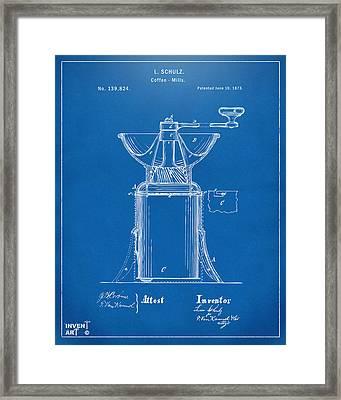 1873 Coffee Mills Patent Artwork Blueprint Framed Print by Nikki Marie Smith