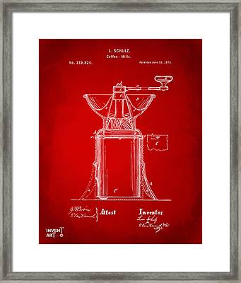 1873 Coffee Mills Patent Artwork Red Framed Print by Nikki Marie Smith