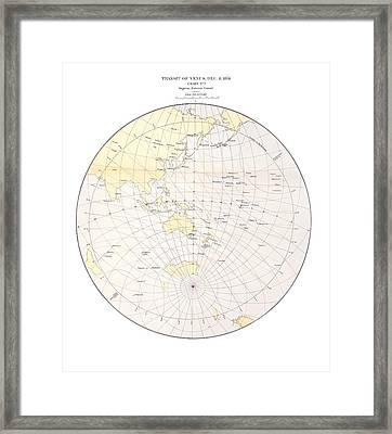 1874 Transit Of Venus Chart, Ingress 1 Framed Print by Science Photo Library