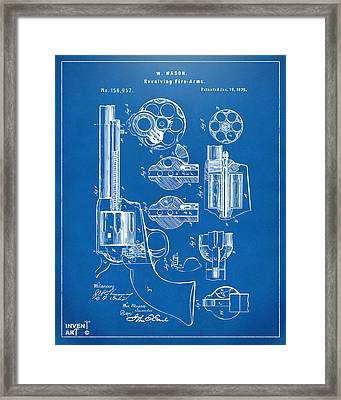 1875 Colt Peacemaker Revolver Patent Blueprint Framed Print by Nikki Marie Smith