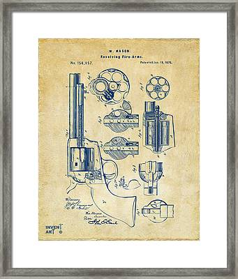 1875 Colt Peacemaker Revolver Patent Vintage Framed Print by Nikki Marie Smith