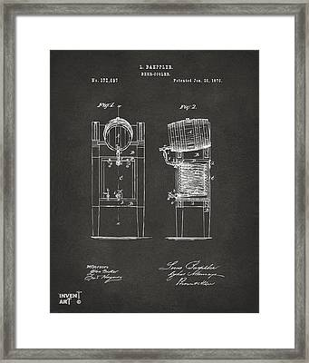 1876 Beer Keg Cooler Patent Artwork - Gray Framed Print by Nikki Marie Smith