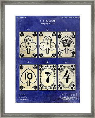 1877 Playing Cards Patent Drawing 2 Tone Blue Framed Print by Jon Neidert