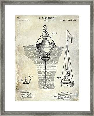 1878 Buoy Patent Drawing Framed Print by Jon Neidert