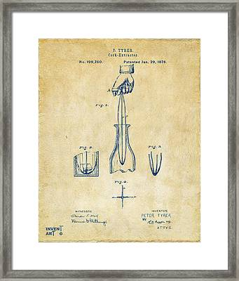 1878 Cork Extractor Patent Artwork - Vintage Framed Print by Nikki Marie Smith