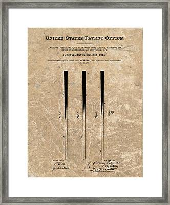 1879 Pool Cue Patent Framed Print by Dan Sproul