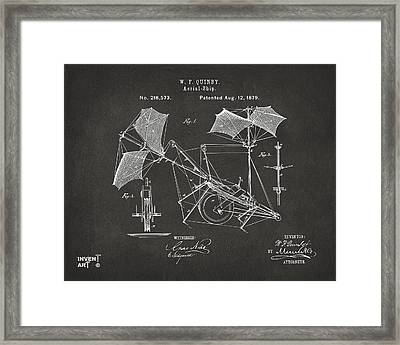 1879 Quinby Aerial Ship Patent - Gray Framed Print by Nikki Marie Smith