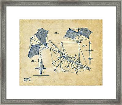 1879 Quinby Aerial Ship Patent Minimal - Vintage Framed Print by Nikki Marie Smith