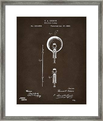 1880 Edison Electric Lamp Patent Artwork Espresso Framed Print by Nikki Marie Smith