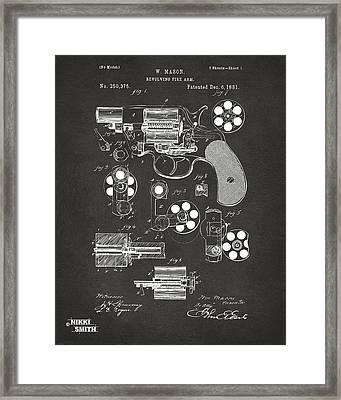 1881 Colt Revolving Fire Arm Patent Artwork - Gray Framed Print by Nikki Marie Smith