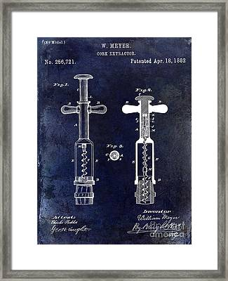 1882 Corkscrew Patent Drawing Framed Print by Jon Neidert