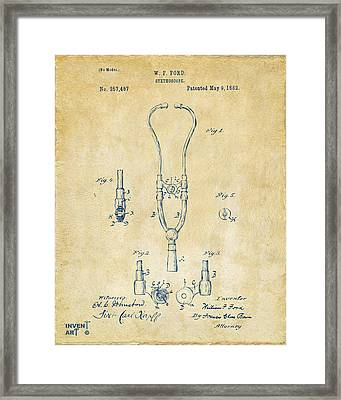1882 Doctor Stethoscope Patent - Vintage Framed Print by Nikki Marie Smith