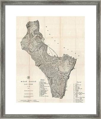 1883 West Point Map Framed Print by Dan Sproul