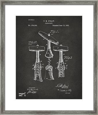 1883 Wine Corckscrew Patent Artwork - Gray Framed Print by Nikki Marie Smith