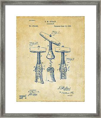 1883 Wine Corckscrew Patent Artwork - Vintage Framed Print by Nikki Marie Smith