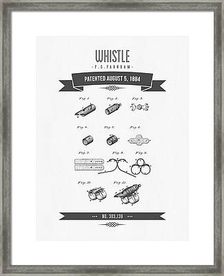 1884 Whistle Patent Drawing Framed Print by Aged Pixel