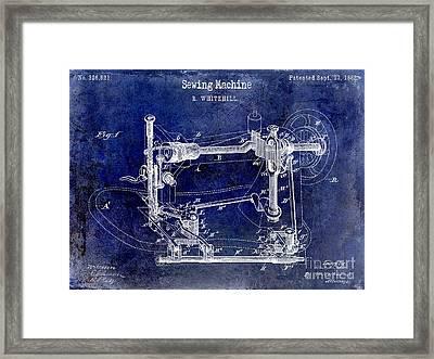 1885 Sewing Machine Patent Drawing Blue Framed Print by Jon Neidert