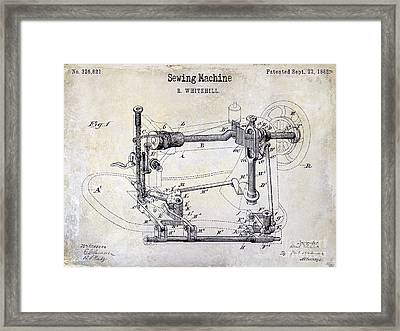 1885 Sewing Machine Patent Drawing Framed Print by Jon Neidert