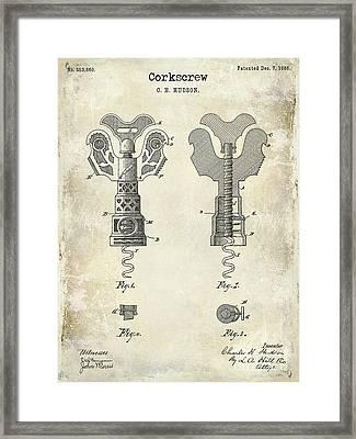 1886 Corkscrew Patent Drawing Framed Print by Jon Neidert