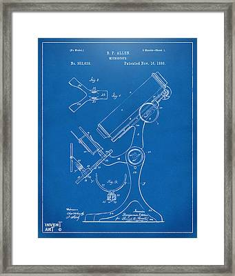 1886 Microscope Patent Artwork - Blueprint Framed Print by Nikki Marie Smith