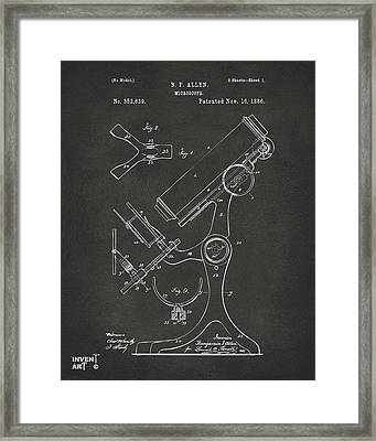 1886 Microscope Patent Artwork - Gray Framed Print by Nikki Marie Smith