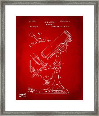 1886 Microscope Patent Artwork - Red Framed Print by Nikki Marie Smith
