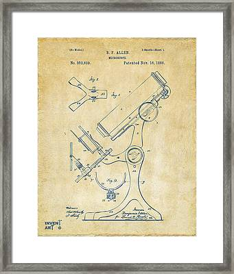1886 Microscope Patent Artwork - Vintage Framed Print by Nikki Marie Smith