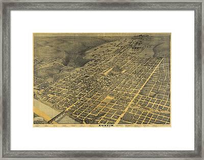 1887 Austin Texas Map Framed Print by Dan Sproul