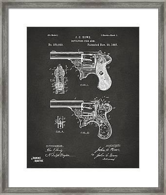 1887 Howe Revolver Patent Artwork - Gray Framed Print by Nikki Marie Smith