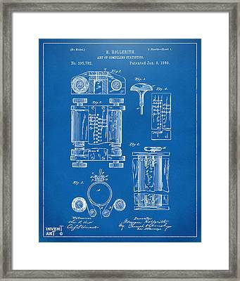 1889 First Computer Patent Blueprint Framed Print by Nikki Marie Smith
