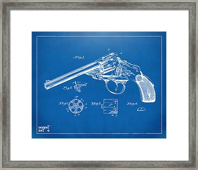 1889 Wesson Revolver Patent Minimal - Blueprint Framed Print by Nikki Marie Smith