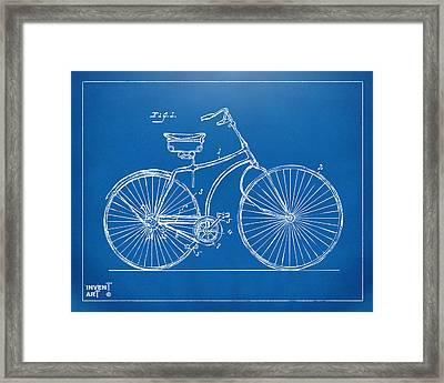 1890 Bicycle Patent Minimal - Blueprint Framed Print by Nikki Marie Smith