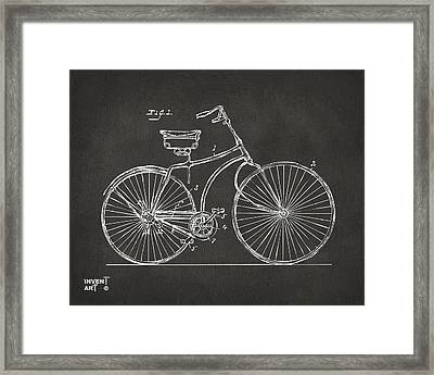 1890 Bicycle Patent Minimal - Gray Framed Print by Nikki Marie Smith