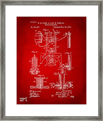 1890 Bottling Machine Patent Artwork Red Framed Print by Nikki Marie Smith