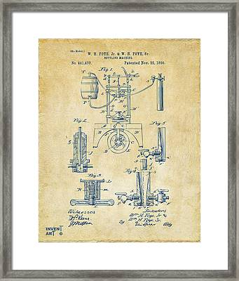 1890 Bottling Machine Patent Artwork Vintage Framed Print by Nikki Marie Smith
