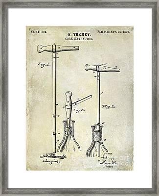 1890 Cork Extractor Patent Drawing Framed Print by Jon Neidert