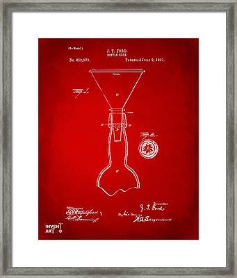 1891 Bottle Neck Patent Artwork Red Framed Print by Nikki Marie Smith